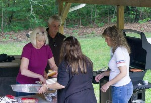 Bonnie and volunteers cooking up the wonderful food today.